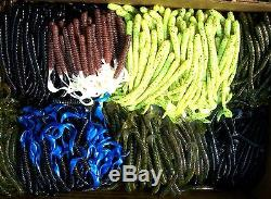100pc ASSORTMENT of BASS FISHING WORMS, Lures, Soft Plastic Baits, Assorted Styles