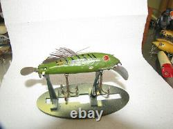 ANTIQUE VINTAGE HEDDON EARLY 1900s WOOD LURE IN TACKLE BOX DOWAGIAC MICHIGAN