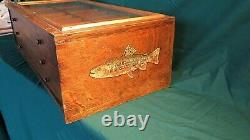 Antique Fly Fishing Weber Lures Oak Counter Display Advertising Angler