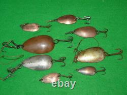 Collection of 8 vintage copper and nickel Farlow's Spoons 4 collector