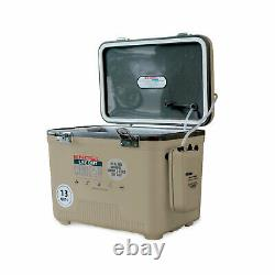 Engel 13 Quart Insulated Live Bait Fishing Outdoor Cooler With Water Pump, Tan