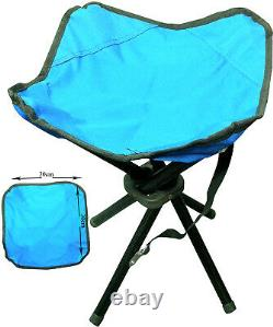 Folding Portable 4 Legs Strong Camping Stool Chair Seat Hiking Fishing Bbq New