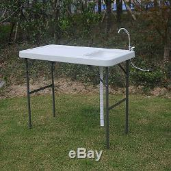 Folding Portable Fish Fillet & Hunting & Cutting Table with Sink Faucet New