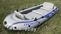 INTEX Excursion 5 Person Inflatable Rafting/Fishing Dinghy Boat Set (Used)