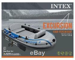 Intex Excursion 4 Inflatable Raft/Fishing Boat Set With 2 Oars(Open Box)