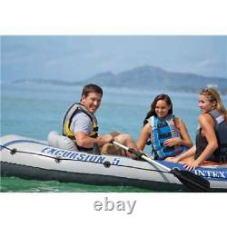 Intex Excursion 5 Person Inflatable Fishing Boat Set with 2 Oars, Air Pump (Used)