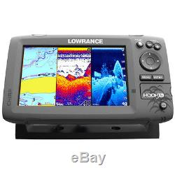 Lowrance Hook-7X Mid/High/Downscan Fishfinder with83/200/455/800 HDI Transducer