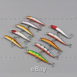 New Lot 10pcs Kinds of Fishing Lures Crankbaits Hooks Minnow Baits Tackle Crank