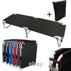 Portable 24.5W Military Cots Fold Up Bed Hiking Fishing Travel Camping- Black