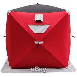Portable Pop-up 2-person Ice Shelter Fishing Tent Shanty with Bag Ice Anchors Red