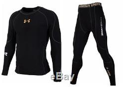Under Armour Men's Cold-Gear Long Tigth and Long Sleeve Compression Color Black