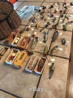 Vintage Lot Of Antique Fishing Lures Over 50 Heddon, South Bend, CCB CO 1920s